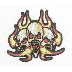 3 Döskallar flammor Patch